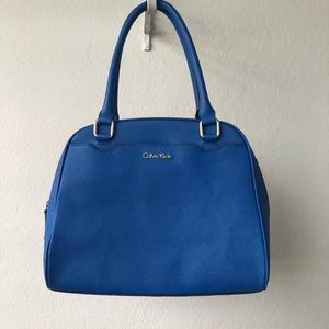 Calvin Klein Blue Saffiano Leather Purse Handbag